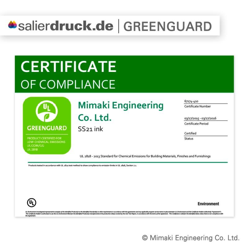 GREENGUARD Zertifizierung der Mimaki Drucker.