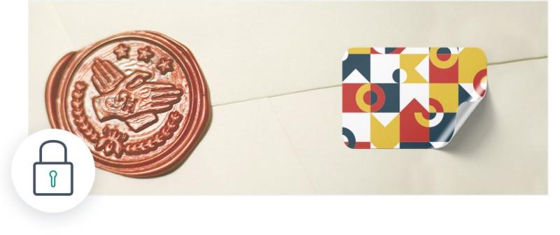 Siegel Etiketten können nicht in einem Stück entfernt werden und zeigen so an, wenn ein Öffnungsversuch vorgenommen wurde.