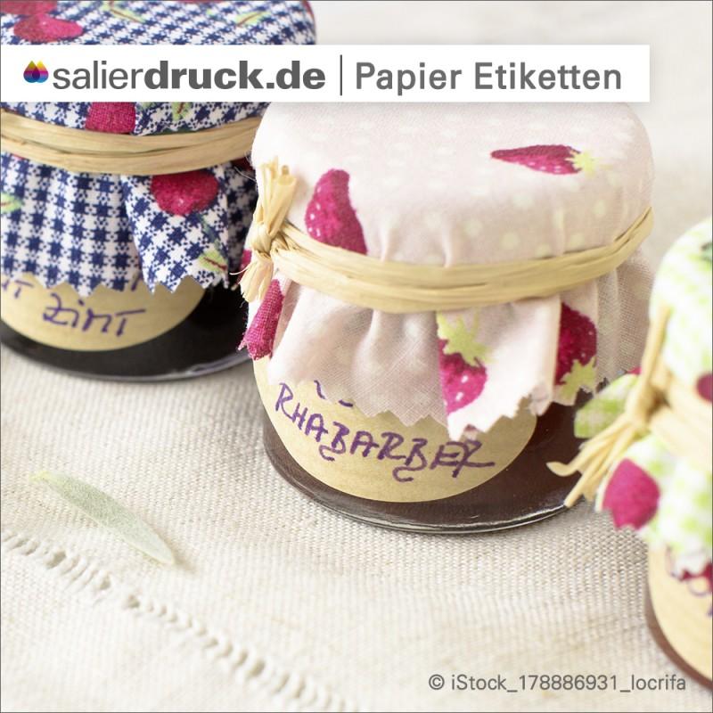 Papieretiketten – das Beispiel am Klassiker der Marmeladengläser.