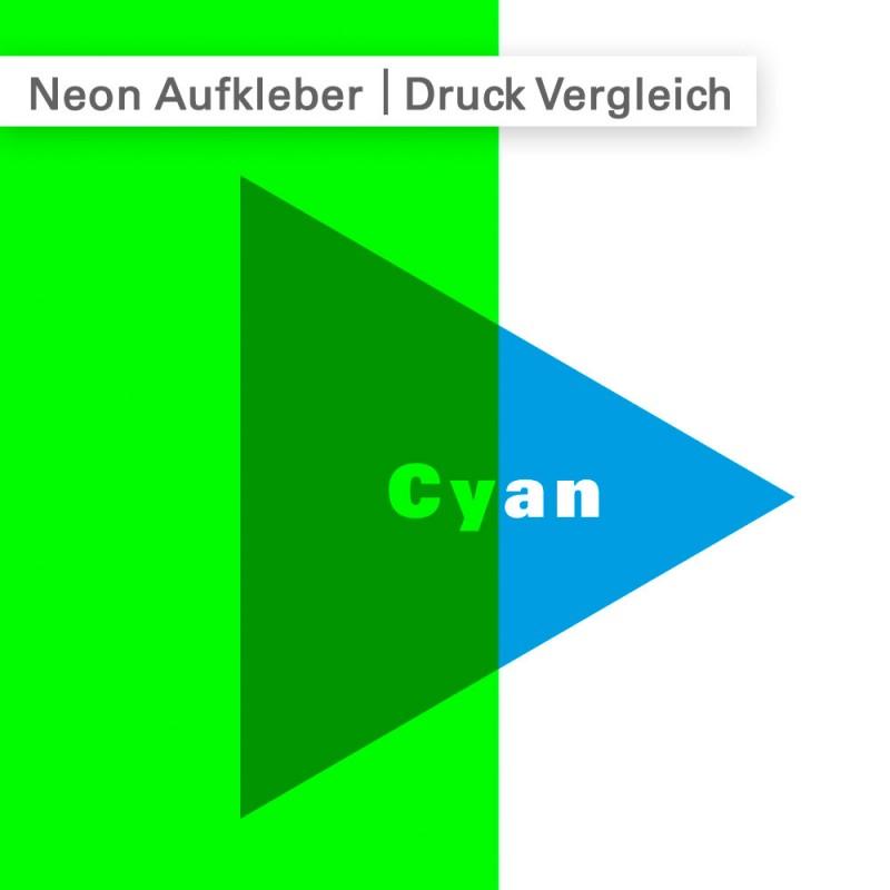 Wenn Sie im CMYK Farbraum auf neon-farbiger Folie drucken, multiplizieren sich die Farben miteinander.