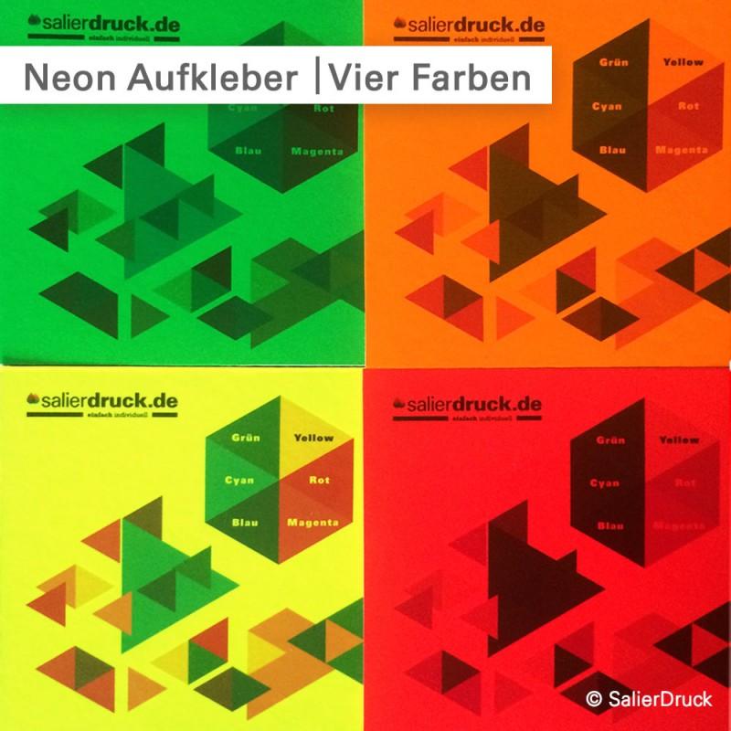 Die Druckfarben wirken auf jeder unserer 4 verschiedenen neon Folien anders.