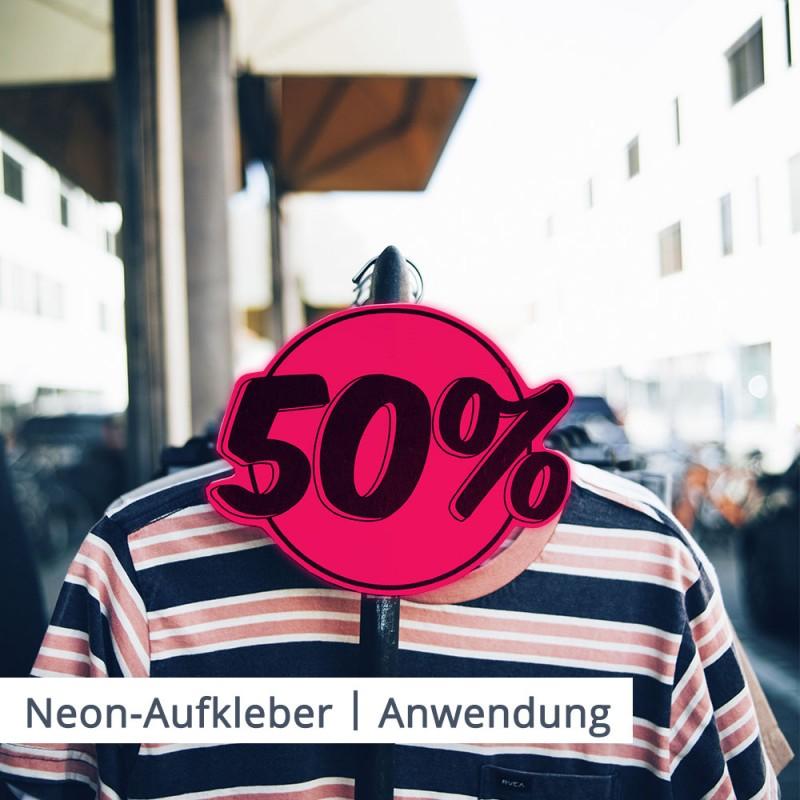 Neon Aufkleber lenken Aufmerksamkeit auf Sales und Dinge, die Sie verkaufen möchten.