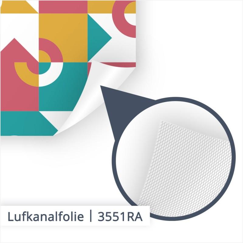 Unter der Lupe: Bei dieser Nahaufnahme sind die kleinen, feinen Luftkanäle dargestellt. Diese dienen dazu, Blasen einfacher unter der Folie heruaszuarbeiten.