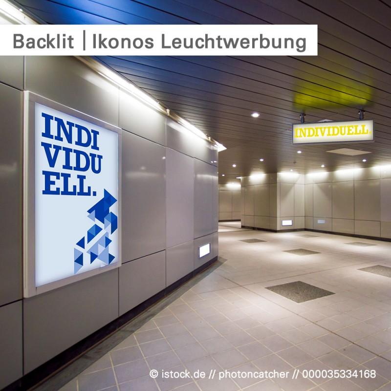 Backlit Ikonos als individuelle Leuchtwerbung, bedruckbar mit eigenem Design | SalierDruck.de