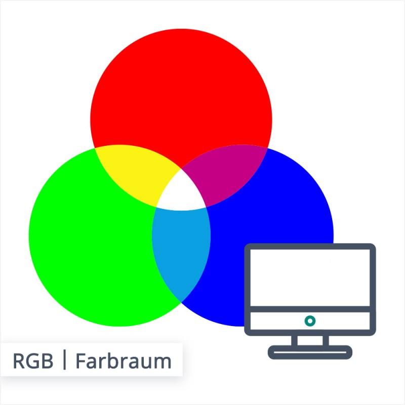 Das Farbmodell RGB besteht aus den Farben rot, grün und blau. Anders als beim CMYK Modell wird hier die Mischfarbe heller, je mehr Farbe gedruckt wird.