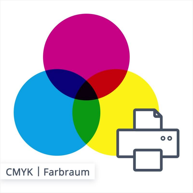 Das Zusammenspiel der lasierenden Farben Cyan, Magenta und Yellow. Je mehr Farbauftrag auf den Bedruckstoff aufgetragen wird, umso dunkler wird das Ergebnis.