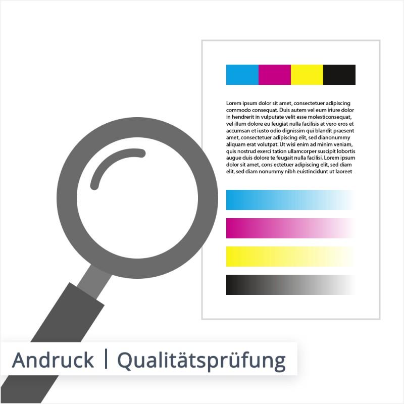 Beim Andruck wird geprüft, ob das Druckbild mit der Vorlage aus der Datei übereinstimmt. Dies dient vor allem der Fehlervermeidung.