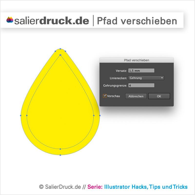 Einen Vektorpfad proportional verschieben in Adobe Illustrator.