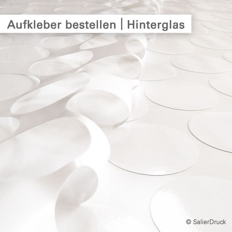 Etiketten hinter Glas rund geschnitten - online kalkulieren und bestellen bei SalierDruck.de