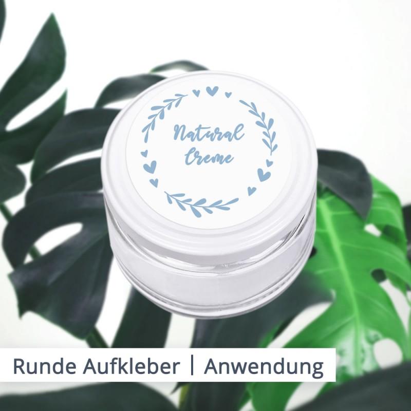 Runde Aufbewahrungsbehälter für Cremes, Deos oder Kosmetika sind ein klassisches Beispiel für die Anwendung von runden Aufklebern.