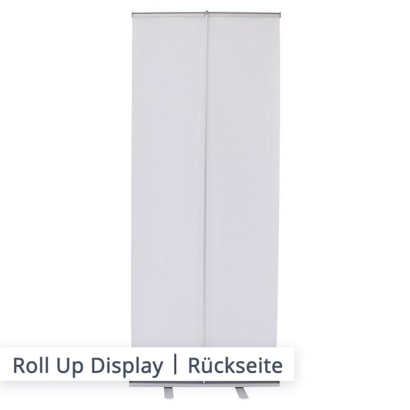 Das Displaysystem lässt sich einfach Aufstellen. Klappstange zusammenstecken, Banner ausrollen und in den Löchern fixieren.