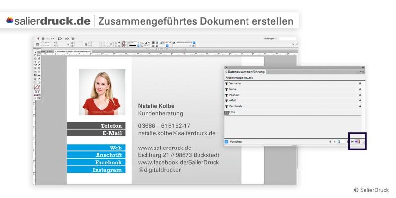 Zusammengeführtes Dokument erstellen – Datenzusammenführung | SalierDruck
