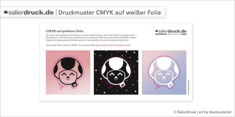 Druckmuster CMYK auf weißer Klebefolie | SalierDruck