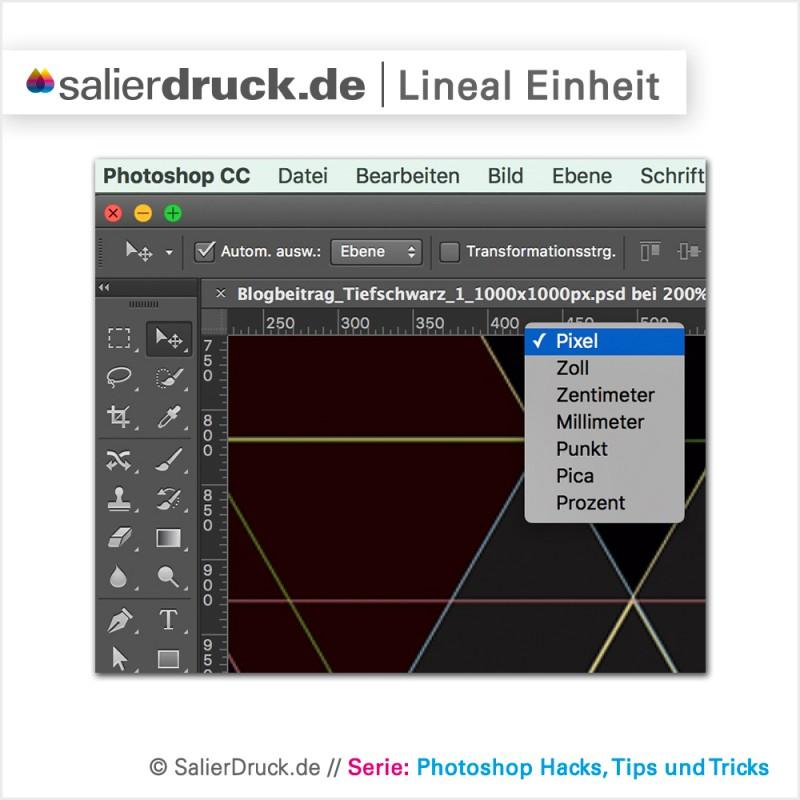 Maßeinheit des Lineals anpassen in Adobe Photoshop.