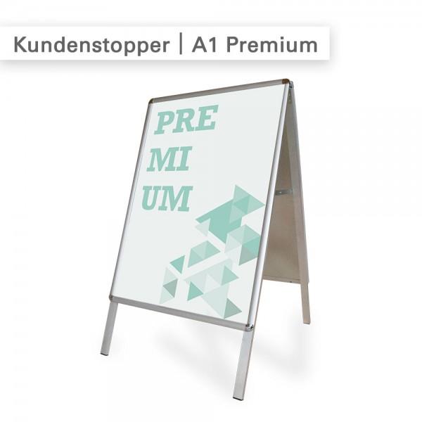 Kundenstopper wetterfest mit individuellem Druck auf PVC Poster - SalierDruck.de