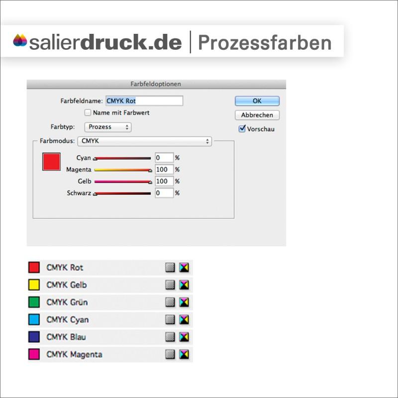 In den Farbfeldoptionen werden Prozessfarben oder Volltonfarbe eingestellt.