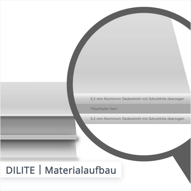 Für DILITE Platten wird weniger Rohstoff Aluminium als DIBOND verwendet und 0,2 mm Aluminium Deckschichten flankieren den Kunststoffkern.