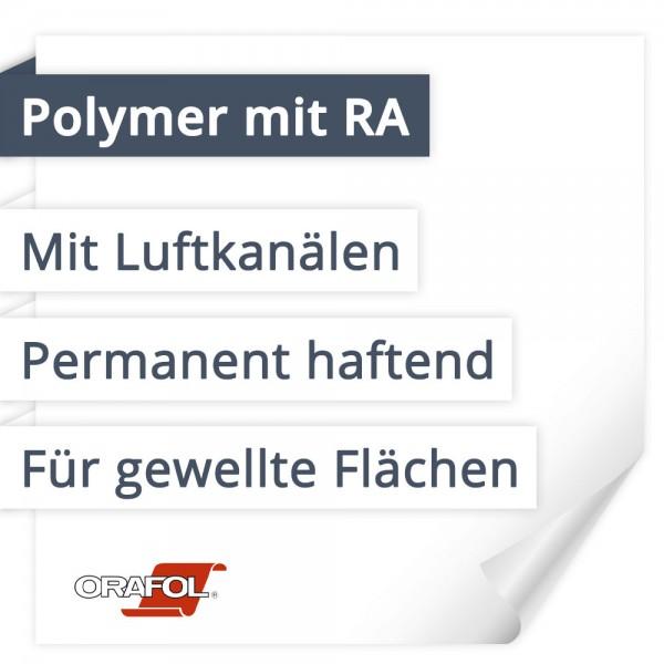 Orafol Orajet 3551RA Polymer Mit Rapid Air | Mit Luftkanälen | Permanent haftend | Für gewellte Flächen