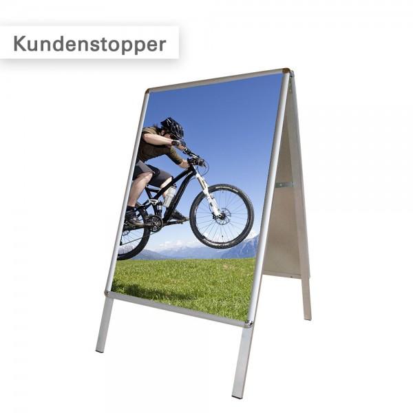 Displaysystem Kundenstopper - Aufsteller mit wetterfestem PVC-Poster - SalierDruck.de