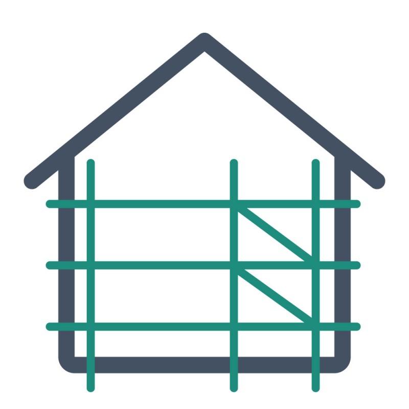 Entstehende Gebäude werden oft mit Bauplanen, die mit Aufklebern gestaltet werden, beworben.