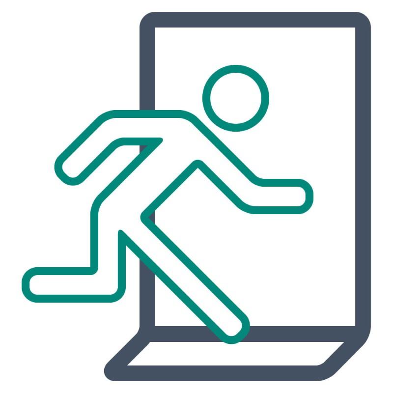 Benutzen Sie Teppichaufkleber, um Fluchtwege oder Notausgänge am Fußboden auszuschildern.