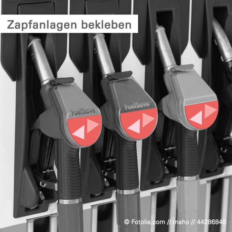 Benzinbeständige Fahrzeugfolie auf Zapfanlagen kleben   SalierDruck.de