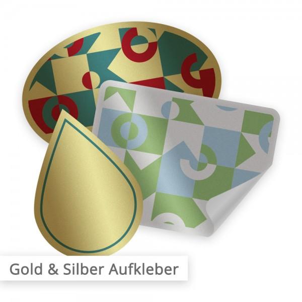 Aufkleber gold & silber individuell in Form, Abmessung und Druck | SalierDruck.de