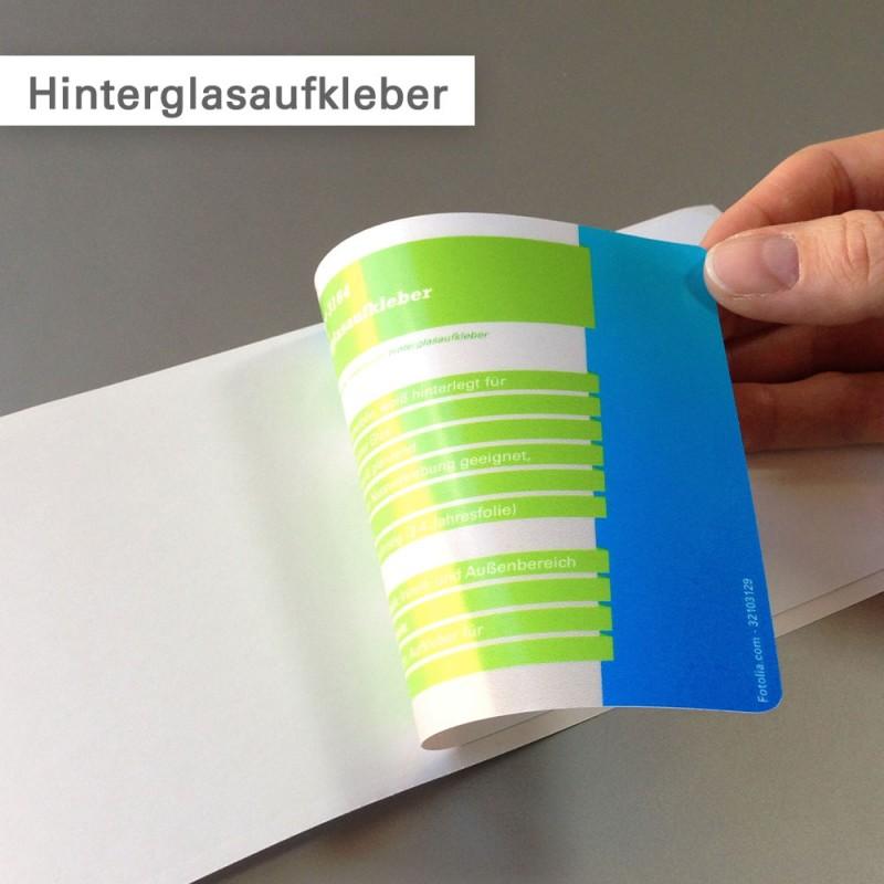 Hinterglasaufkleber – haftet auf der bedruckten Seite – bestellen bei SalierDruck.de