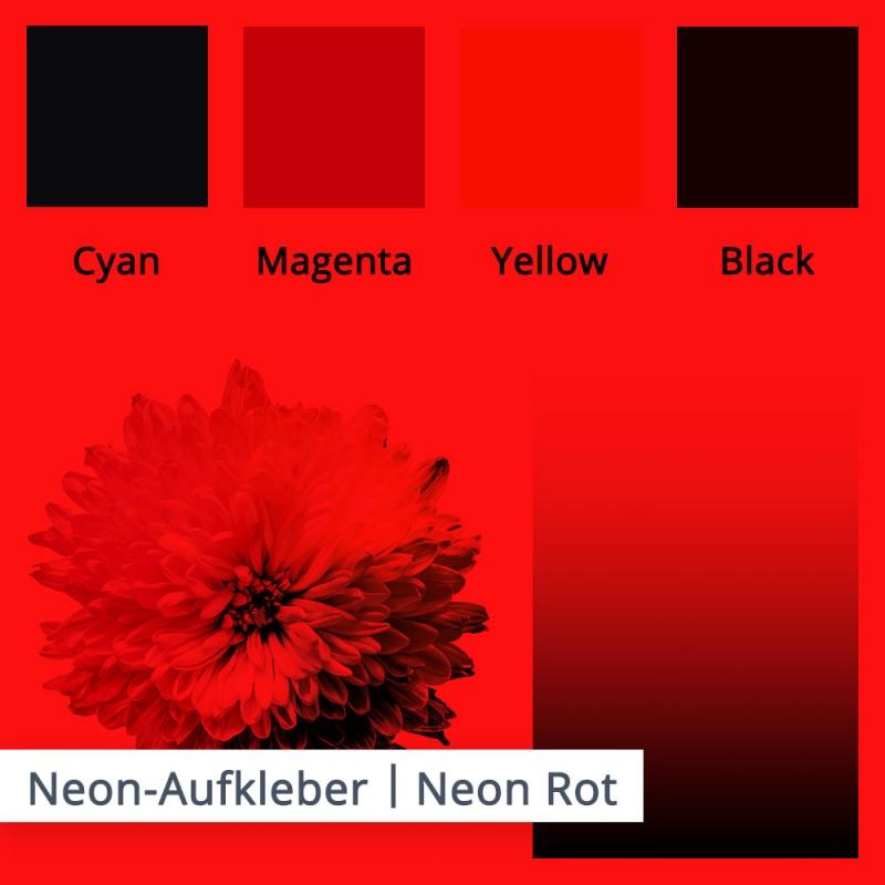Das kräftige, tagesleuchtende neon Rot gibt die lasierenden Farben auch in geringerer Intensität wieder. Schwarz ist hierbei die Beste wahl.
