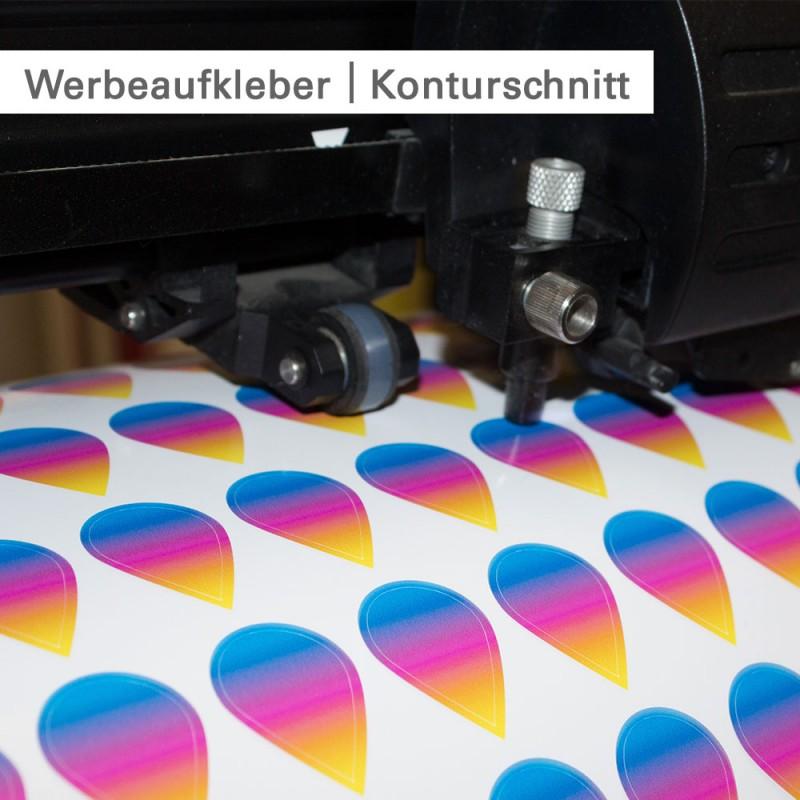 Werbeaufkleber individuell in Größe und Form - SalierDruck.de