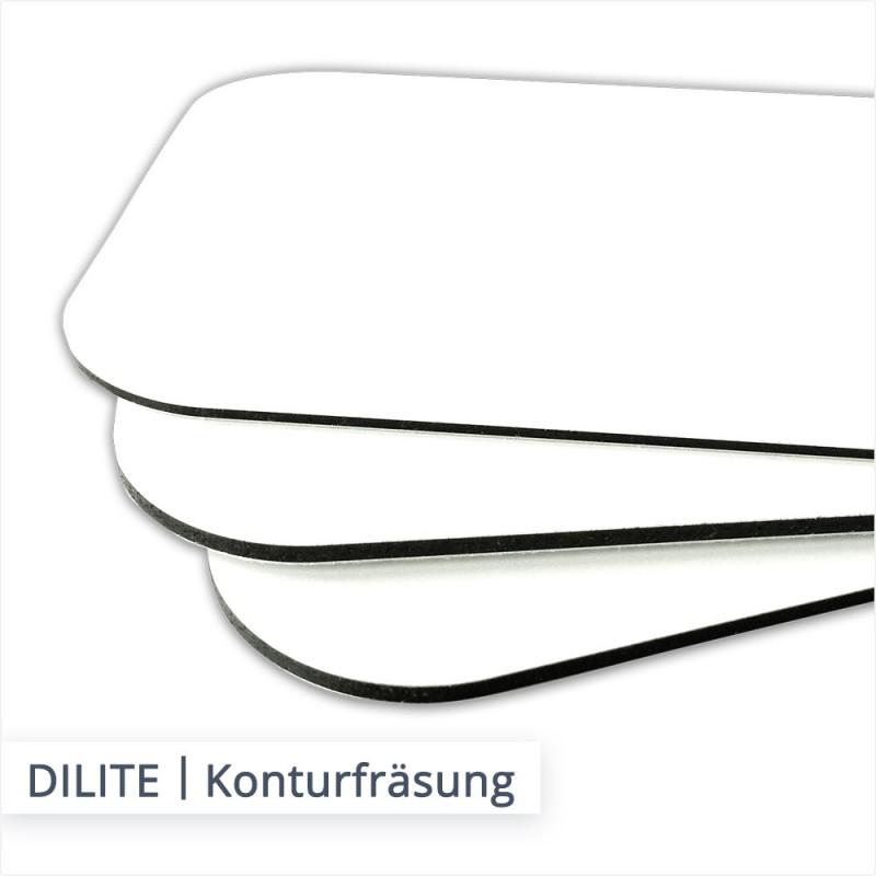 DILITE Alu Verbundplatten können mit abgerundeten Ecken und in anderen individuellen Formen konturgefräst werden.