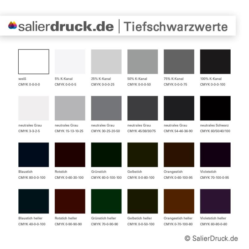 Im Vergleich: verschiedene Abwandlungen von schwarz und grau | SalierDruck.de